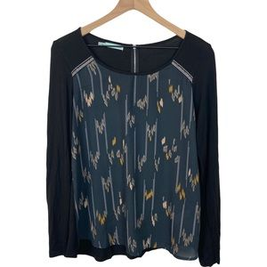 Maurice's Long Sleeve Print Top with Beading Med